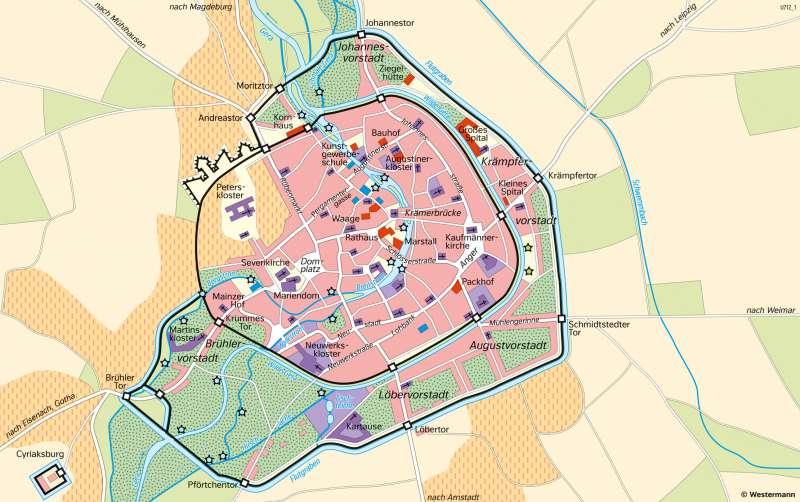 Erfurt   HistorischeStadtentwicklung   Thüringen - Geschichte und Verwaltung   Karte 27/4