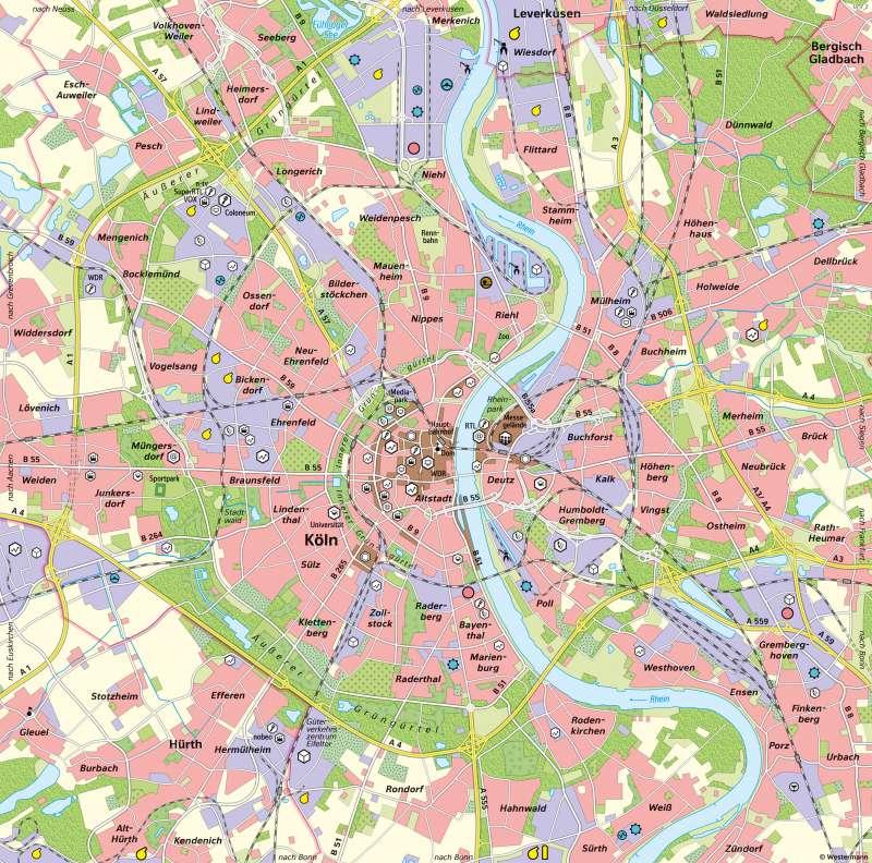 Köln | Wirtschaft in der heutigen Großstadt | Köln - Eine Stadt im Wandel der Zeit | Karte 27/5