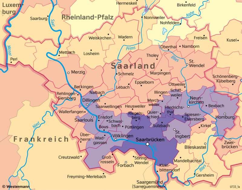 Saarland | Bevölkerungsverteilung | Saarland - Verwaltung und Bevölkerung | Karte 29/7