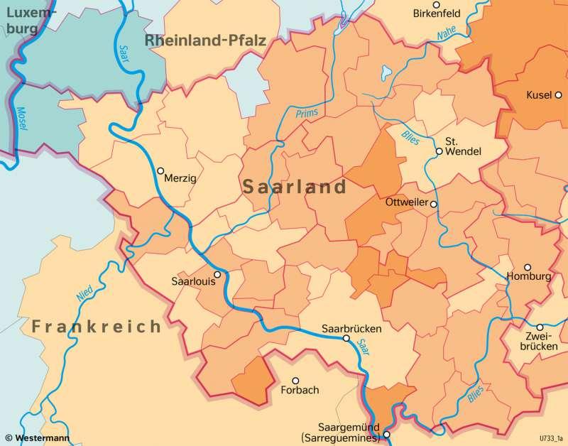 Saarland | Bevölkerungsentwicklung | Saarland - Verwaltung und Bevölkerung | Karte 29/8