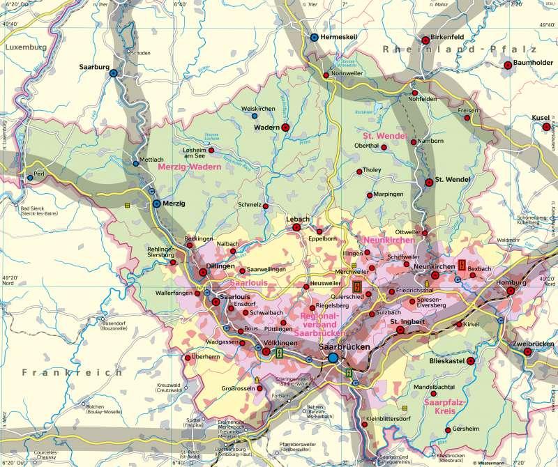 Saarland | Raumplanung und Umwelt | Saarland - Umwelt und Klima | Karte 16/1