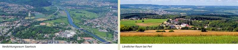 | Verdichtungsraum Saarlouis/Ländlicher Raum bei Perl | Saarland - Umwelt und Klima | Karte 16/1