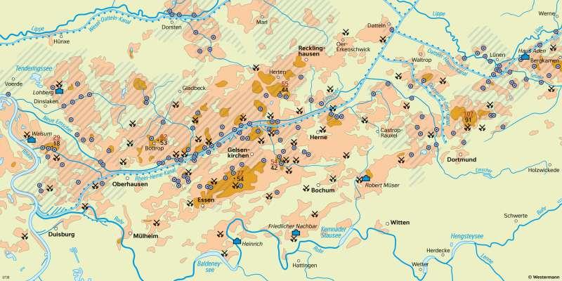 Ruhrgebiet | Bergsenkungen und Entwässerung | Ruhrgebiet - Wirtschaft und Umwelt | Karte 21/3