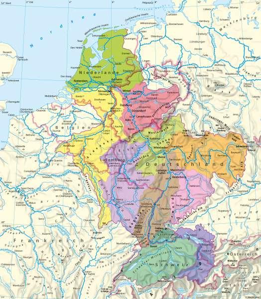 Rhein | Flusseinzugsgebiet | Rhein - Vernetzung innerhalb Europas | Karte 28/1