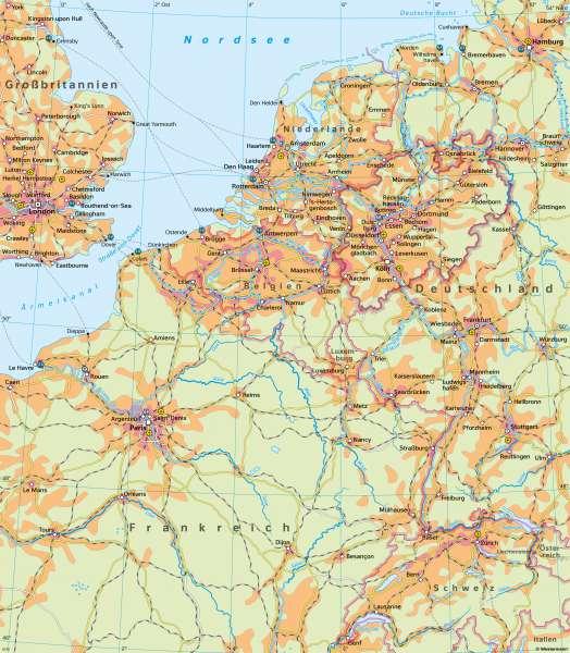 Nordrhein-Westfalen undNachbarn | Bevölkerungsschwerpunkt Europas | Nordrhein-Westfalen undNachbarn - Vernetzung innerhalb Europas | Karte 29/2
