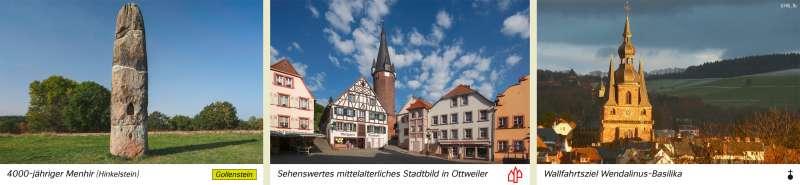 | 4000-jähriger Menhir (Hinkelstein)/Sehenswertes mittelalterliches Stadtbild in Ottweiler/Wallfahrtsziel Wendalinus-Basilika | Saarland - Tourismus und Naturschutz | Karte 18/1