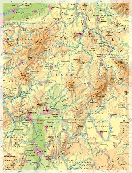 Hessen | Physische Übersicht | Hessen - Vom Bild zur Karte | Karte 7/5