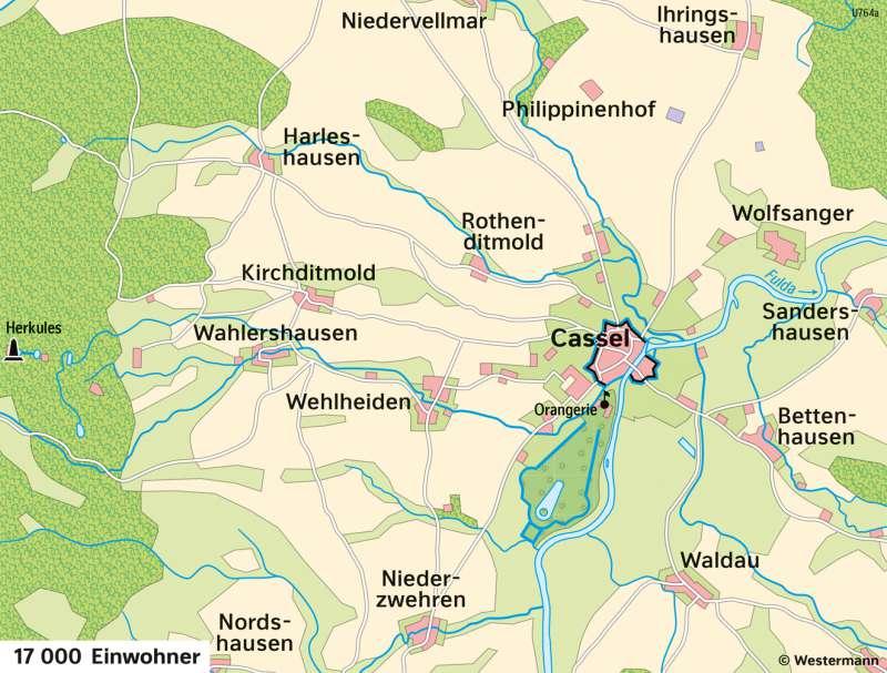 Kassel | Entwicklung von der Residenzstadt zur Großstadt | Kassel - Territorialentwicklung und Stadtwachstum | Karte 26/5