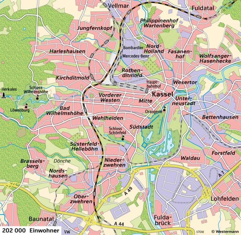 Kassel | Entwicklung von der Residenzstadt zur Großstadt | Kassel - Territorialentwicklung und Stadtwachstum | Karte 27/5