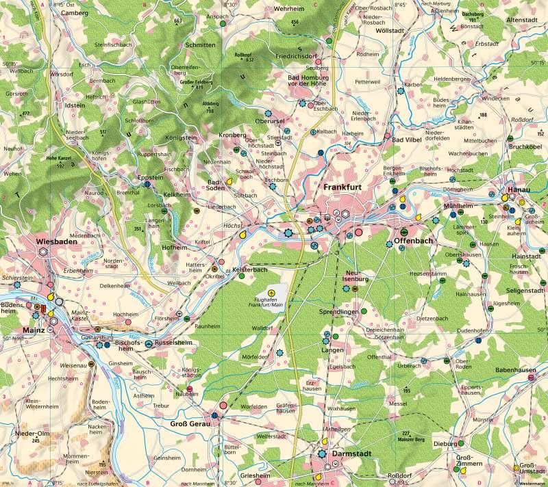 Rhein-Main-Gebiet | Ballungsraum um1950 | Rhein-Main-Gebiet - Raumentwicklung | Karte 22/1