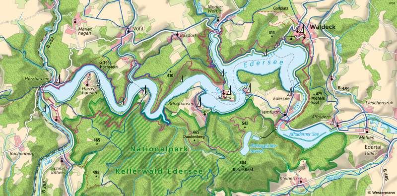 Edersee | Erholungsgebiet am Nationalpark | Edersee - Karte, Luftbild und Maßstab | Karte 13/5