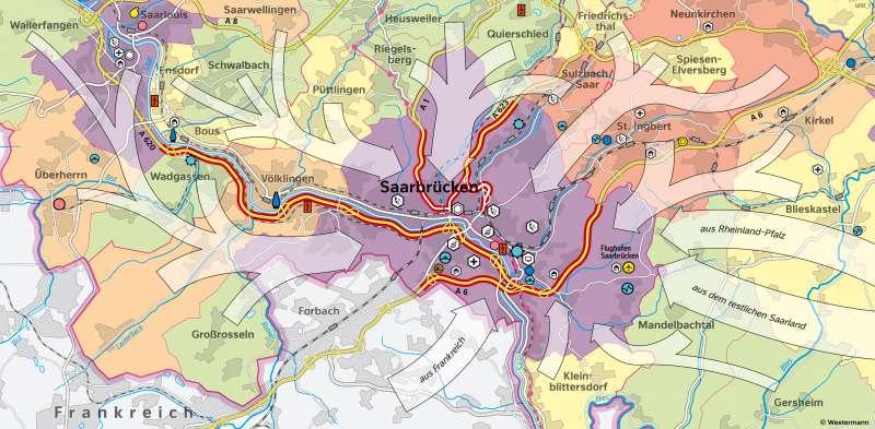 Saarbrücken | Beschäftigte und Pendler | Saarland - Wirtschaft und Verkehr | Karte 21/4