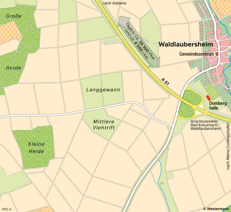 Waldlaubersheim | Gewerbeansiedlung an der Autobahn | Waldlaubersheim - Wirtschaft und Verkehr | Karte 23/4