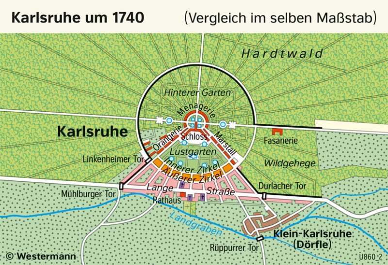 | Karlsruhe um 1740 | Geschichte - Vom Barock zum Napoleonischen Zeitalter | Karte 206/1
