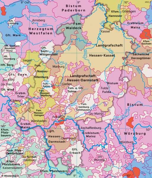 Hessen | Kleinstaaten vor1789 | Hessen - Territorialentwicklung und Stadtwachstum | Karte 26/1
