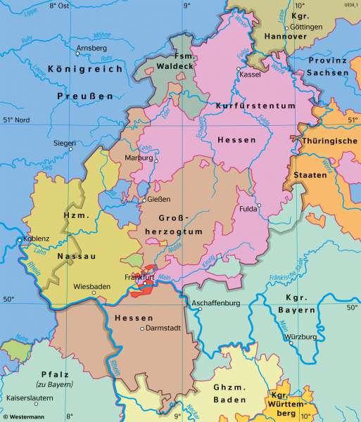 Hessen | Teilstaaten im Deutschen Bund | Hessen - Territorialentwicklung und Stadtwachstum | Karte 26/2