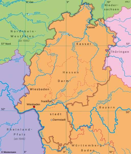 Hessen | Bundesland nach1945 | Hessen - Territorialentwicklung und Stadtwachstum | Karte 27/4