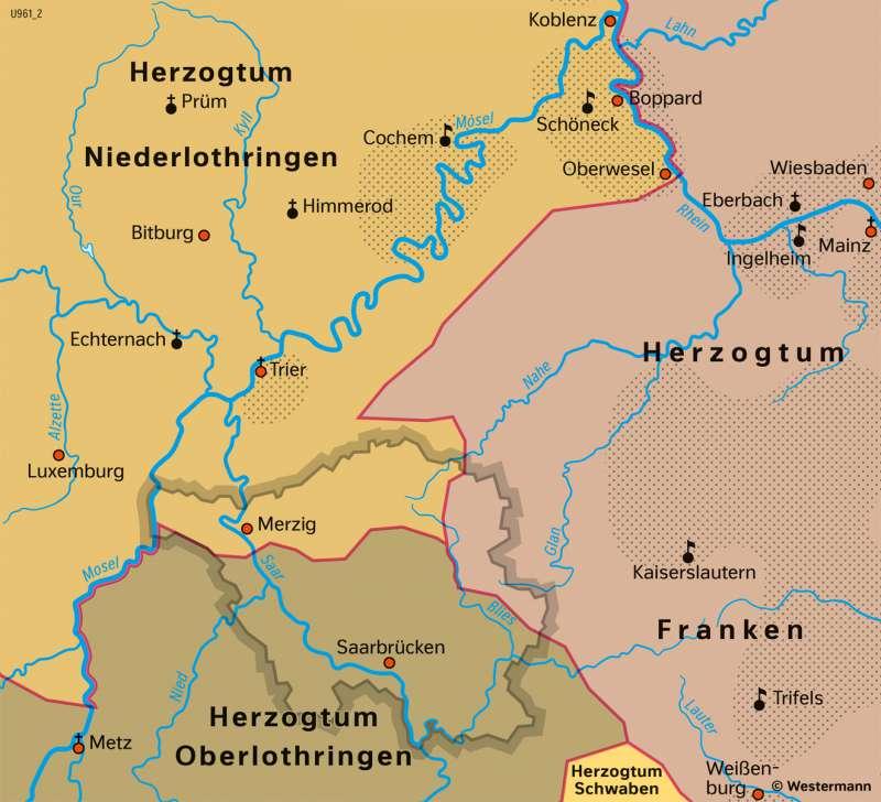 Saarland und Umgebung   Stauferzeit im 11.–13.Jahrhundert   Saarland und Umgebung - Territorialgeschichte   Karte 26/2