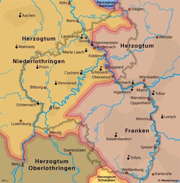 Franken und Lothringen | Stauferzeit um1200 | Franken und Lothringen - Territorial- und Stadtentwicklung | Karte 26/2
