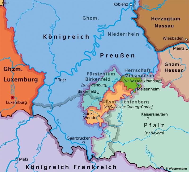Saarland und Umgebung   Politische Gliederung 1818   Saarland und Umgebung - Territorialgeschichte   Karte 26/4