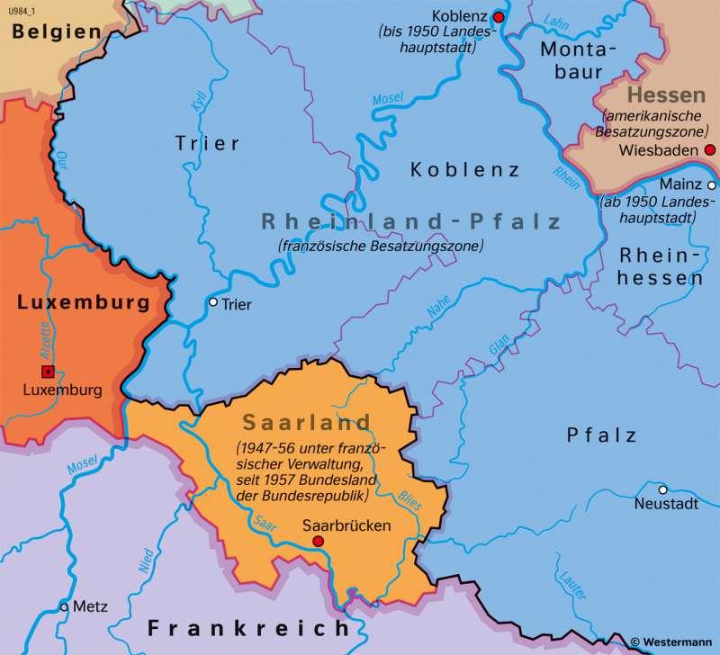 Saarland | Saarprotektorat 1945–1956 | Saarland und Umgebung - Territorialgeschichte | Karte 27/7