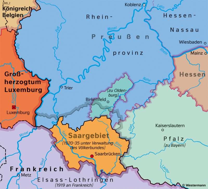 Saargebiet | Völkerbundmandat 1920–1935 | Saarland und Umgebung - Territorialgeschichte | Karte 27/5