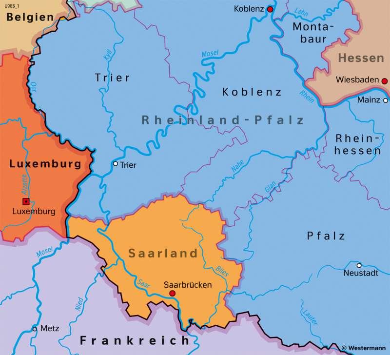 Saarland   Eingliederung in die BRD 1957   Saarland und Umgebung - Territorialgeschichte   Karte 27/8