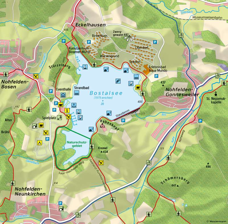 Bostalsee | Tages- und Urlaubstourismus | Saarland - Tourismus und Naturschutz | Karte 19/2