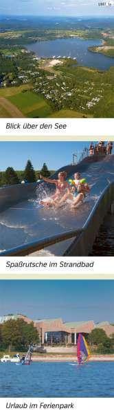 Bostalsee | Blick über den See/Spaßrutsche im Strandbad/Urlaub im Ferienpark | Saarland - Tourismus und Naturschutz | Karte 19/2