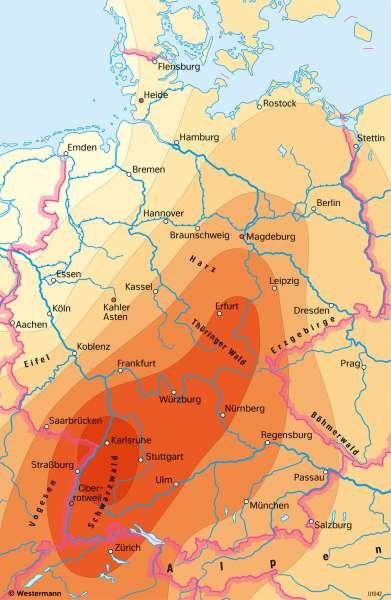 Deutschland | Temperaturveränderung 1915–2015 | Deutschland - Klima | Karte 39/4