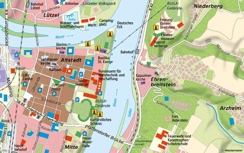 Koblenz | Innenstadt | Koblenz - Karte, Luftbild und Maßstab | Karte 12/2