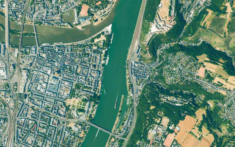 Koblenz | Innenstadt | Koblenz - Karte, Luftbild und Maßstab | Karte 13/2