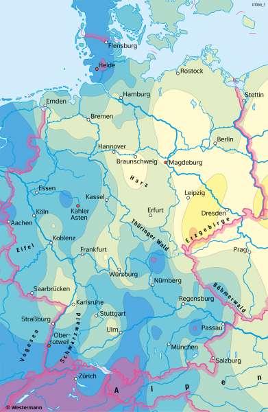 Deutschland | Niederschlagsveränderung 1915–2015 | Deutschland - Klima | Karte 39/5