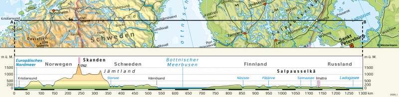 | Höhenprofildurch Skandinavien | Nordeuropa - Physische Karte | Karte 63/3