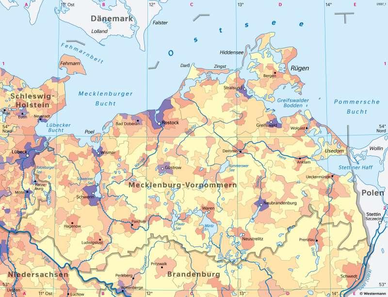 Mecklenburg-Vorpommern | Bevölkerungsdichte und Städte | Mecklenburg-Vorpommern - Bevölkerung | Karte 24/1