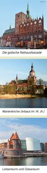 Stralsund | Die gotische Rathausfassade/Marienkirche (erbaut im 14.Jh.)/Lotsenturm und Ozeaneum | Mecklenburg-Vorpommern - Geschichte | Karte 27/5
