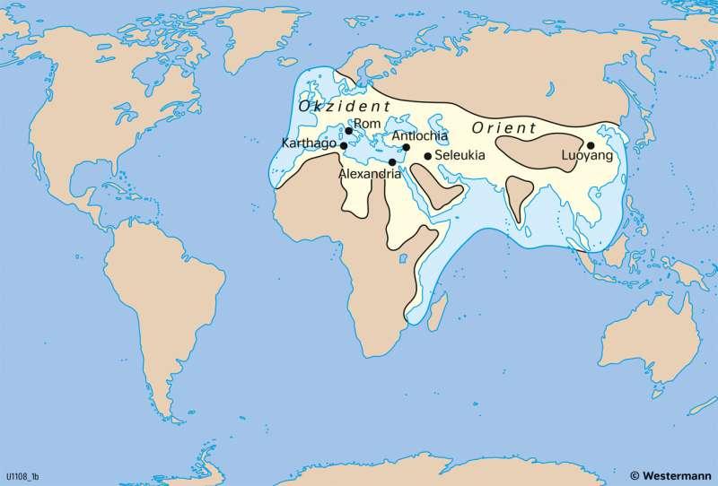Erde | Bekannte Welt aus europäischer Sicht um 100n.Chr. | Geschichte - Geographische Entdeckungen | Karte 202/2