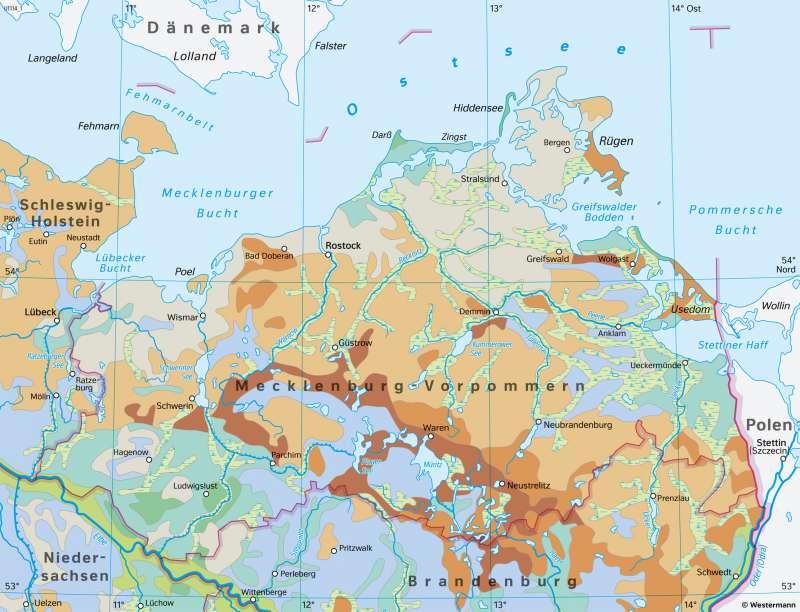 Mecklenburg-Vorpommern   Böden   Mecklenburg-Vorpommern - Klima und Landwirtschaft   Karte 17/7