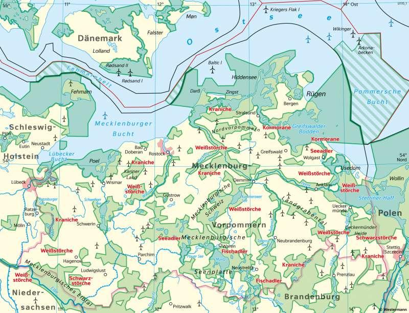 Mecklenburg-Vorpommern | Vogelschutzgebiete und Eignungsgebiete für Windparks | Mecklenburg-Vorpommern - Naturschutz und Umwelt | Karte 22/2