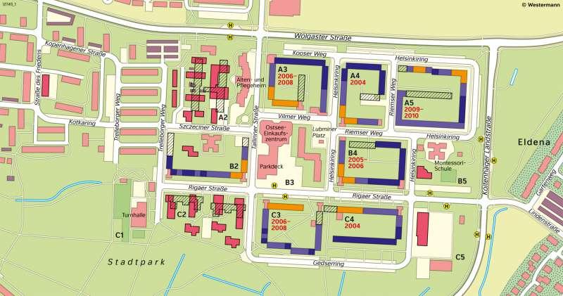 Greifswald-Ostseesiedlung | Umbau einer Plattenbausiedlung | Mecklenburg-Vorpommern - Bevölkerung | Karte 25/3