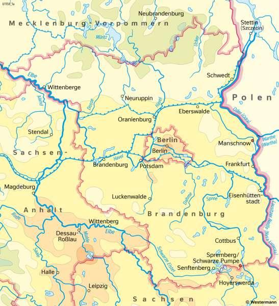 Brandenburg und Berlin | TemperaturenimJahr | Brandenburg und Berlin - Landwirtschaft und Klima | Karte 19/3