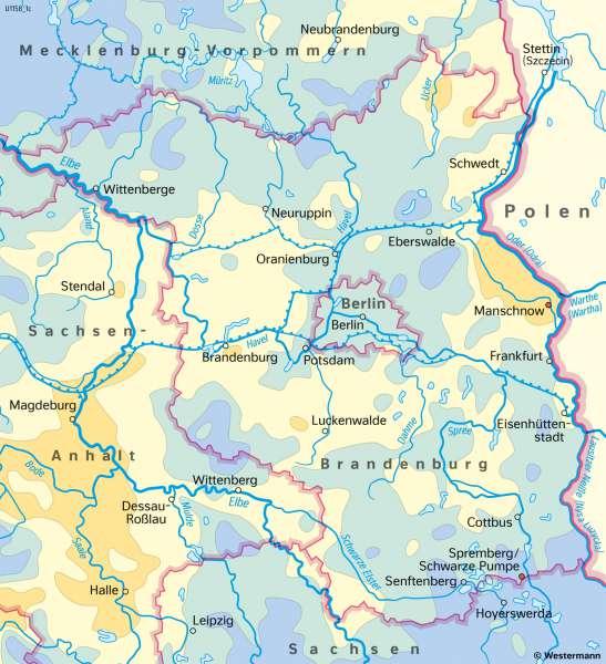Brandenburg und Berlin   NiederschlägeimJahr   Brandenburg und Berlin - Landwirtschaft und Klima   Karte 19/4
