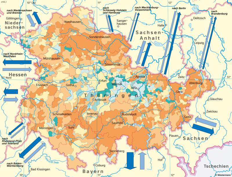 Thüringen   Bevölkerungsentwicklungzwischen 1990 und 2017   Thüringen - Bevölkerung und Raumordnung   Karte 20/2