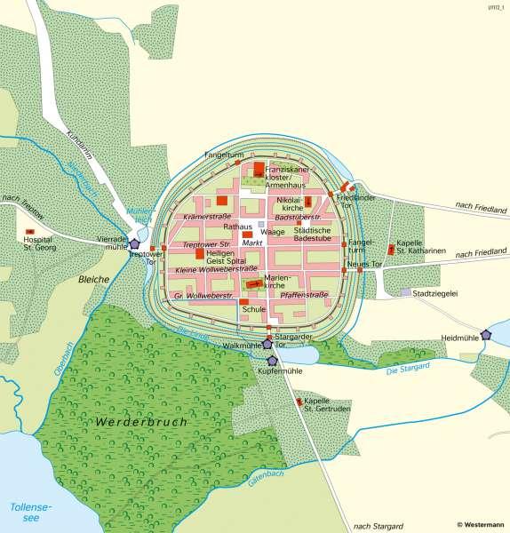 Neubrandenburg | Die Vier-Tore-Stadt im 16.Jahrhundert | Mecklenburg-Vorpommern - Den Wandel von Räumen beschreiben | Karte 28/1