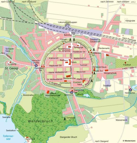 Diercke Weltatlas Kartenansicht Neubrandenburg Altstadt Und
