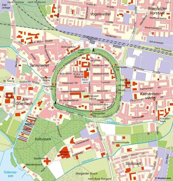 Diercke Weltatlas Kartenansicht Neubrandenburg Innenstadt