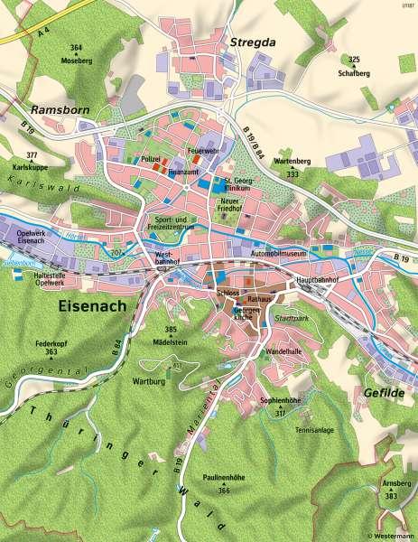 | Unterschiedliche Maßstäbe am Beispiel von Eisenach | Eisenach - Maßstab | Karte 9/1
