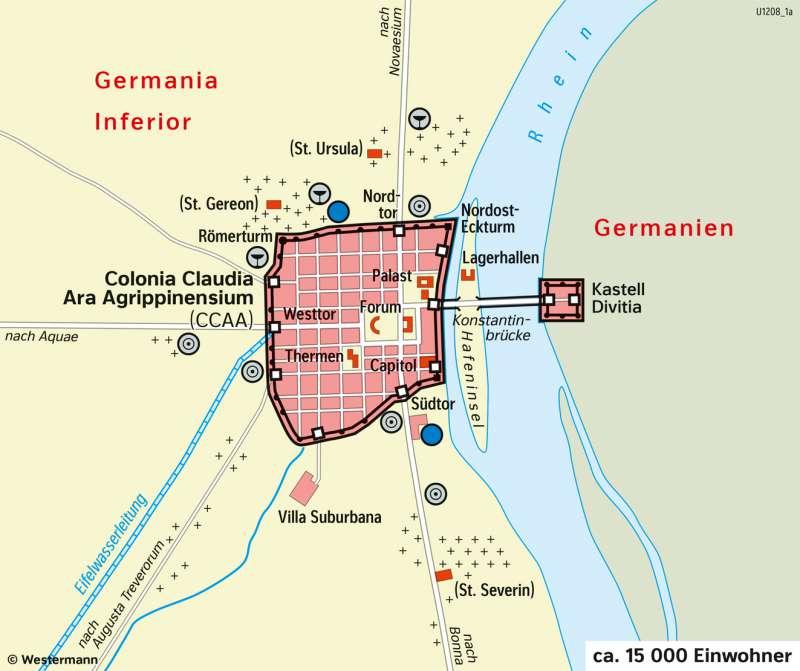 Köln (Colonia) | Römerstadt (um350) | Köln (Colonia) - Eine Stadt im Wandel der Zeit | Karte 26/1