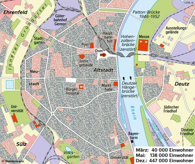 Köln | Kriegszerstörungen (1945) | Köln - Eine Stadt im Wandel der Zeit | Karte 26/4
