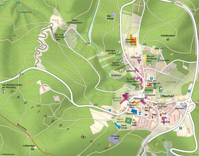 Oberhof | Vom Kurort zum Wintersportzentrum | Oberhof - Raum im Wandel | Karte 29/1